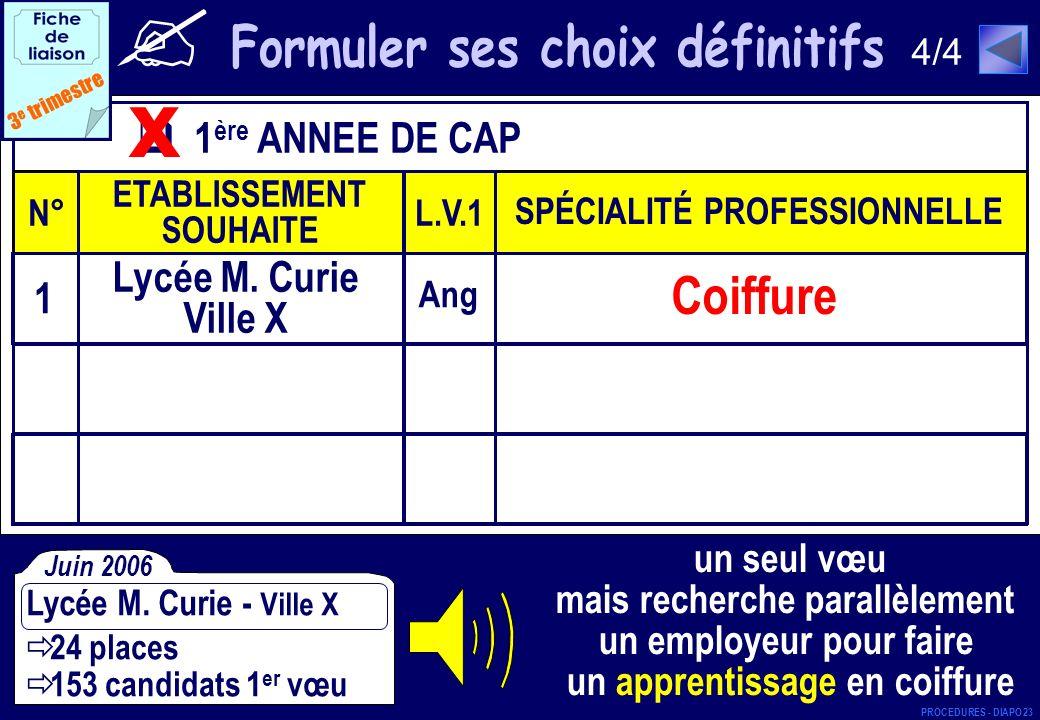 x Coiffure Formuler ses choix définitifs 1ère ANNEE DE CAP