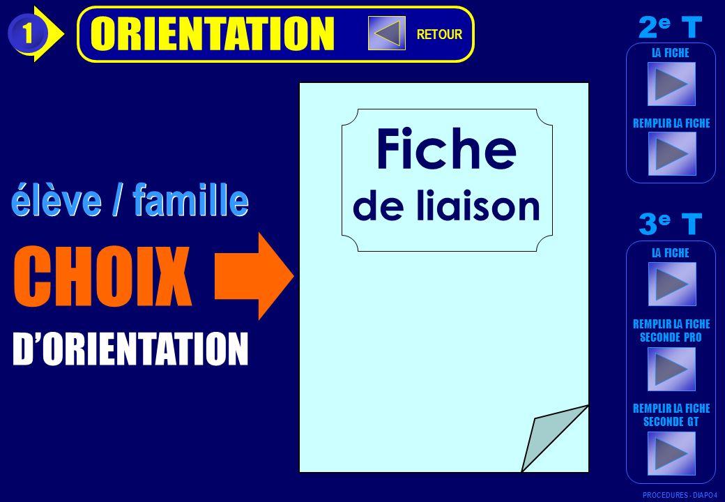 CHOIX Fiche élève / famille de liaison D'ORIENTATION ORIENTATION 2e T
