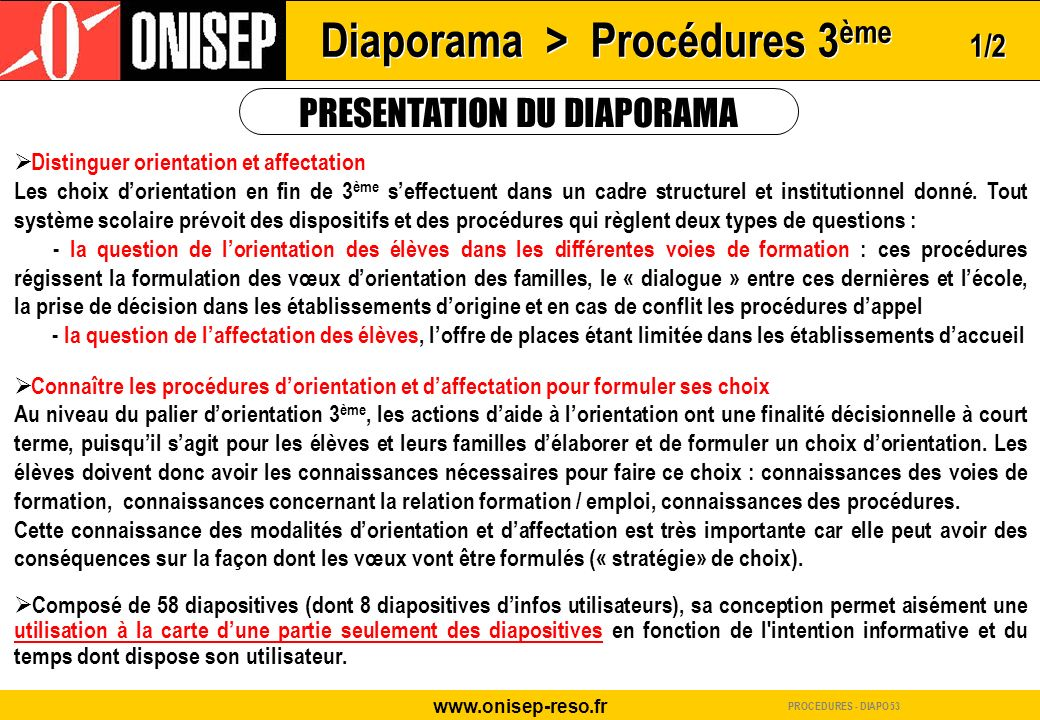 Diaporama > Procédures 3ème 1/2