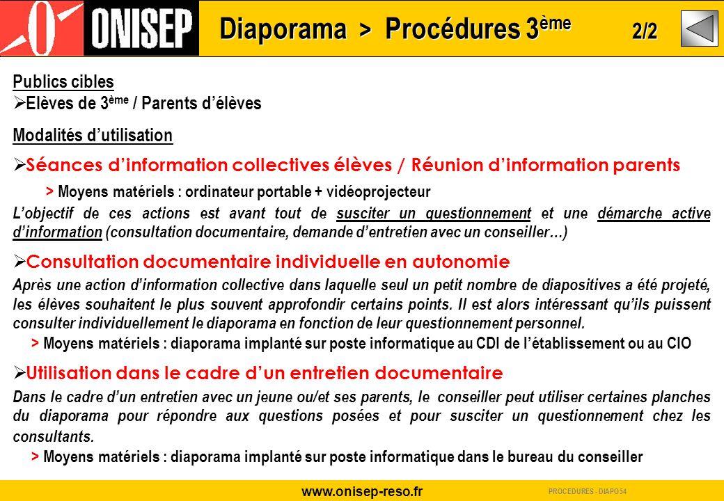 Diaporama > Procédures 3ème 2/2