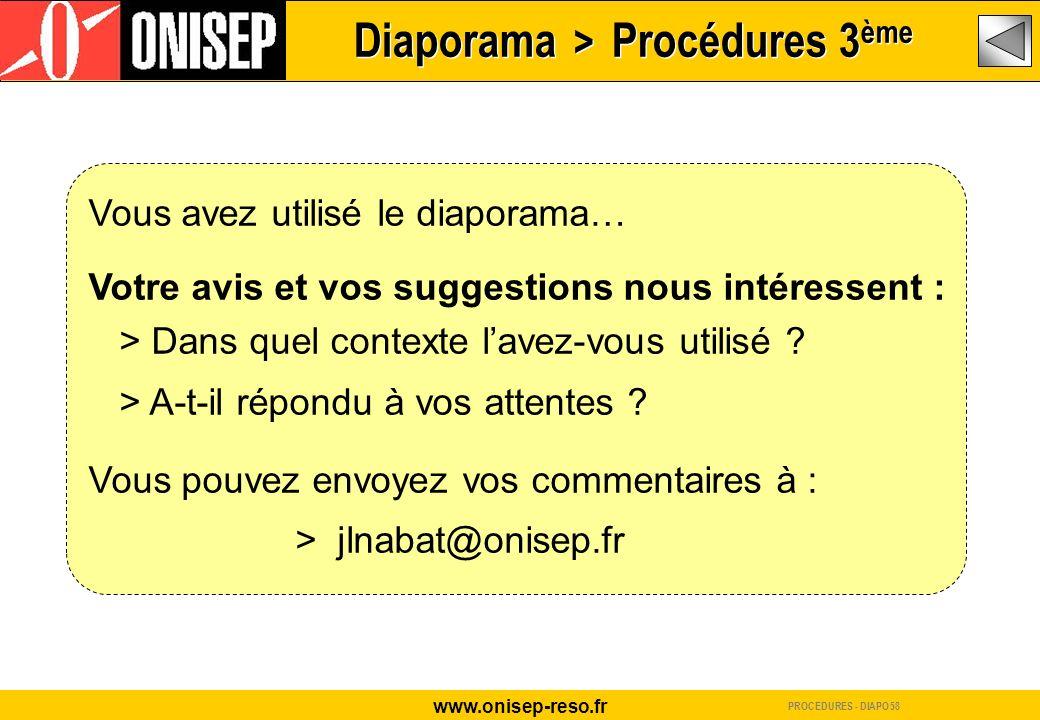 Diaporama > Procédures 3ème