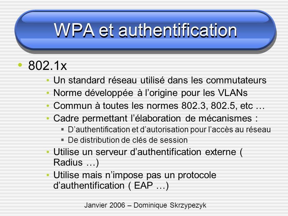 WPA et authentification