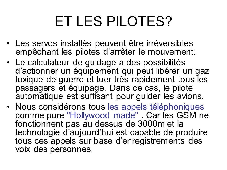 ET LES PILOTES Les servos installés peuvent être irréversibles empêchant les pilotes d'arrêter le mouvement.