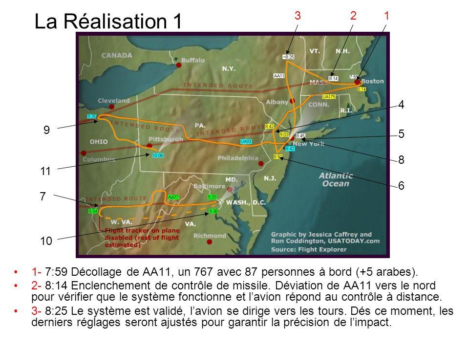 3 2. 1. La Réalisation 1. 4. 9. 5. 8. 11. 6. 7. 10. 1- 7:59 Décollage de AA11, un 767 avec 87 personnes à bord (+5 arabes).