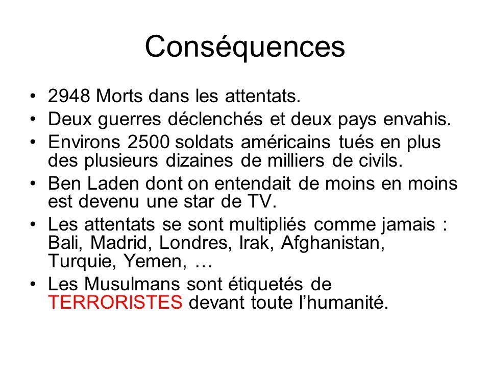 Conséquences 2948 Morts dans les attentats.