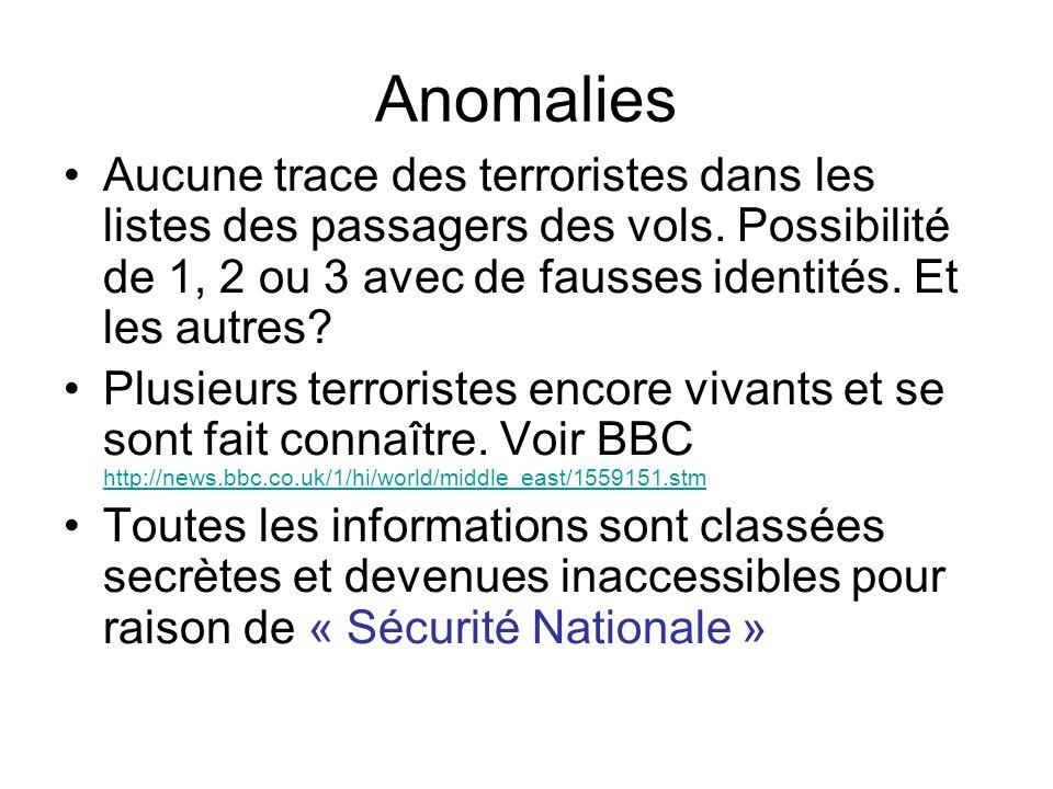 Anomalies Aucune trace des terroristes dans les listes des passagers des vols. Possibilité de 1, 2 ou 3 avec de fausses identités. Et les autres