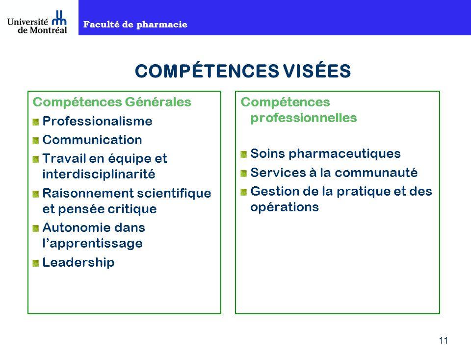 COMPÉTENCES VISÉES Compétences Générales Professionalisme