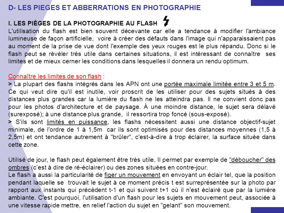 D- LES PIEGES ET ABBERRATIONS EN PHOTOGRAPHIE