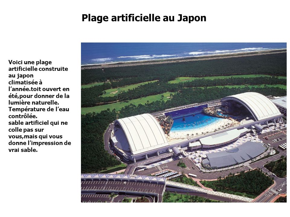 Plage artificielle au Japon