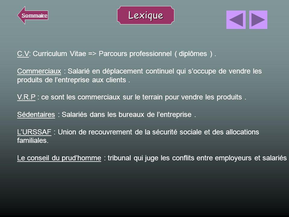 Sommaire Lexique. C.V: Curriculum Vitae => Parcours professionnel ( diplômes ) .