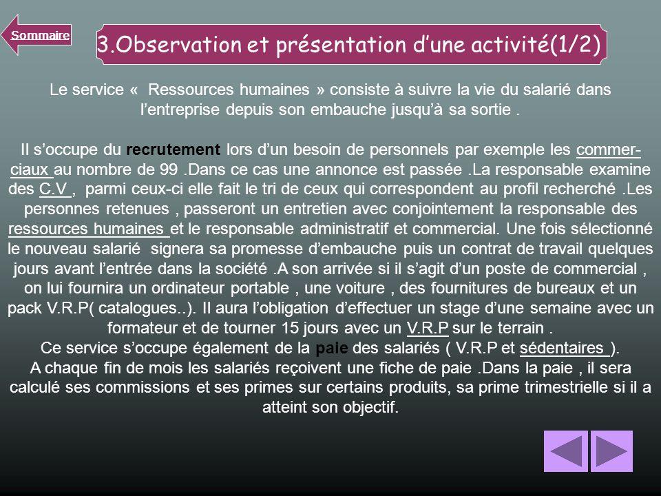 3.Observation et présentation d'une activité(1/2)