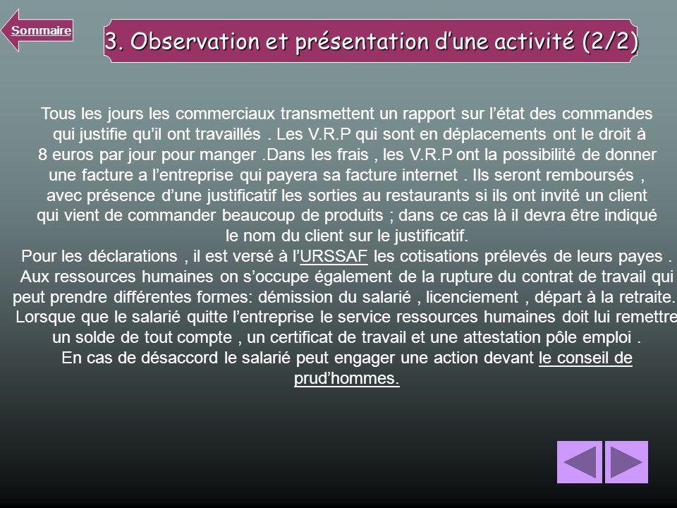3. Observation et présentation d'une activité (2/2)