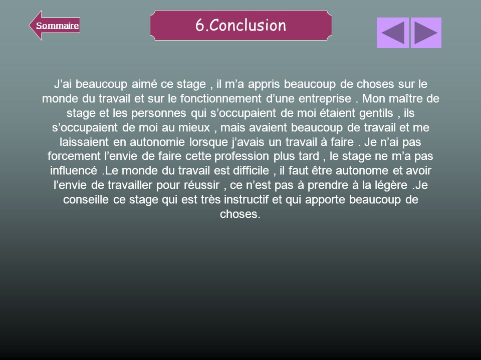 Sommaire 6.Conclusion.
