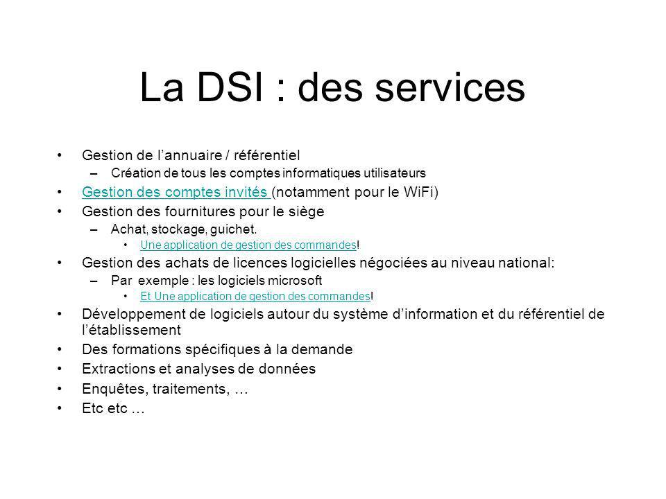 La DSI : des services Gestion de l'annuaire / référentiel