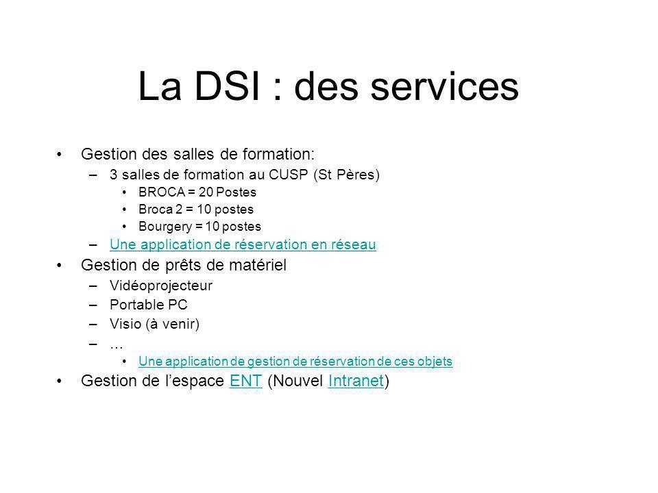 La DSI : des services Gestion des salles de formation: