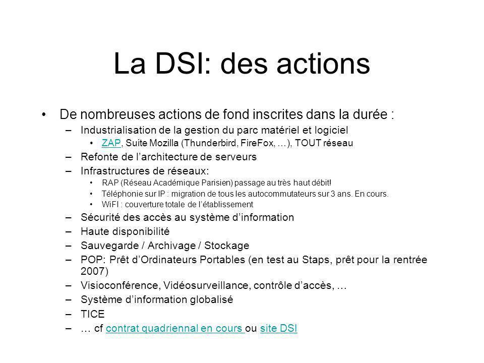 La DSI: des actions De nombreuses actions de fond inscrites dans la durée : Industrialisation de la gestion du parc matériel et logiciel.