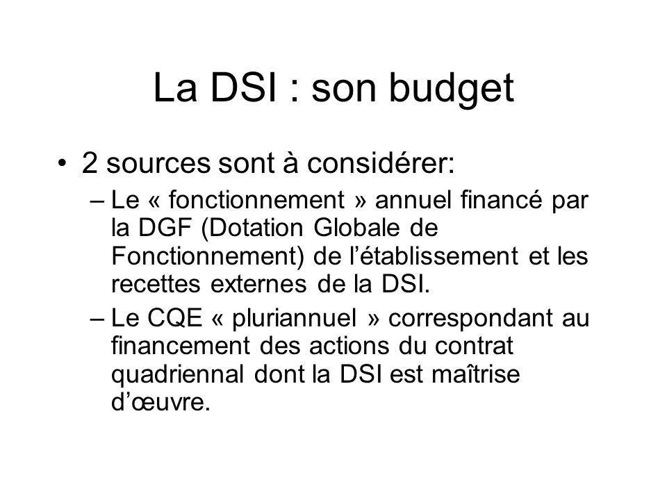 La DSI : son budget 2 sources sont à considérer: