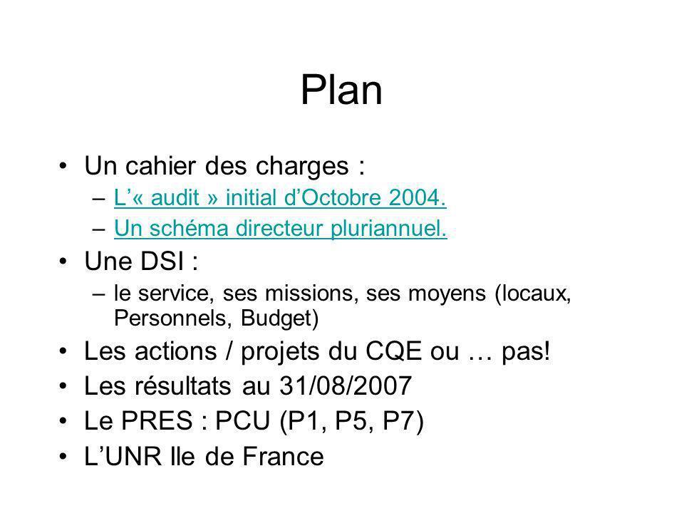 Plan Un cahier des charges : Une DSI :
