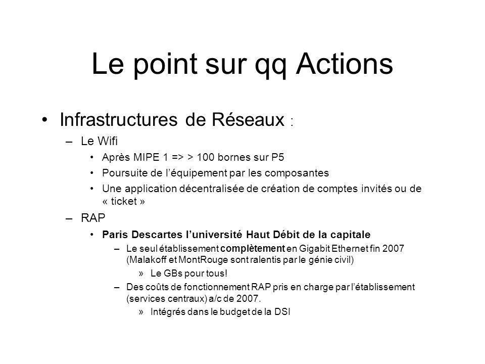 Le point sur qq Actions Infrastructures de Réseaux : Le Wifi RAP