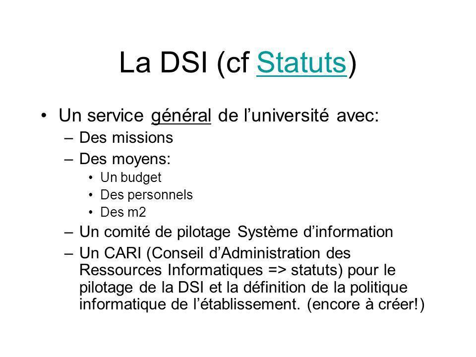 La DSI (cf Statuts) Un service général de l'université avec: