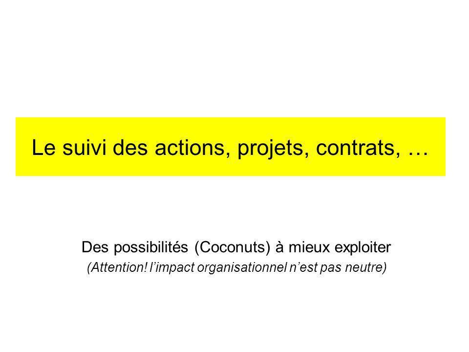 Le suivi des actions, projets, contrats, …