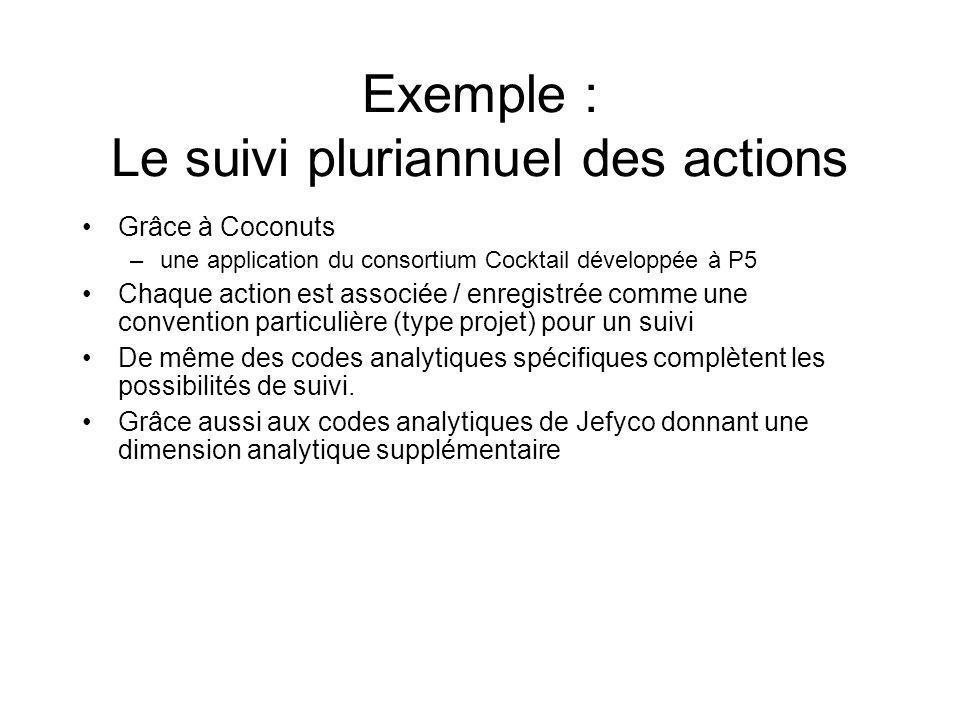 Exemple : Le suivi pluriannuel des actions