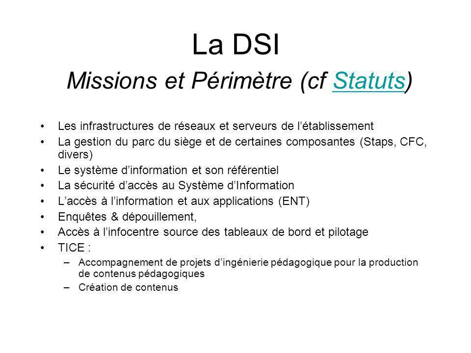 La DSI Missions et Périmètre (cf Statuts)
