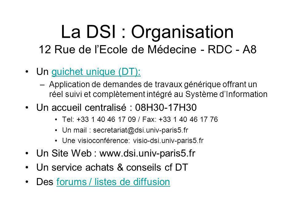 La DSI : Organisation 12 Rue de l'Ecole de Médecine - RDC - A8