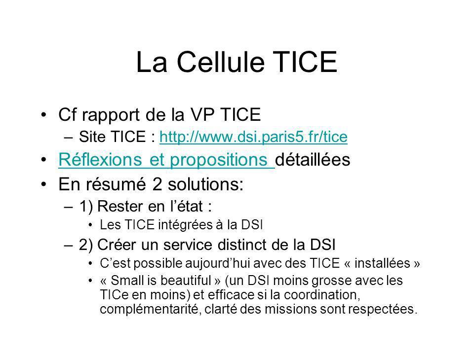 La Cellule TICE Cf rapport de la VP TICE