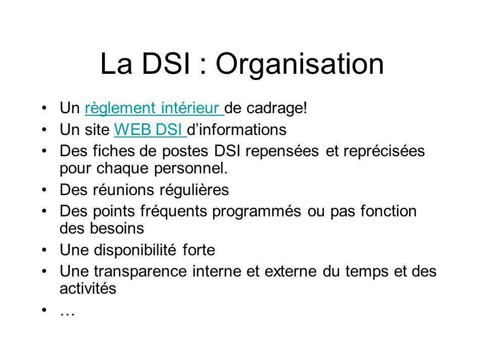 La DSI : Organisation Un règlement intérieur de cadrage!