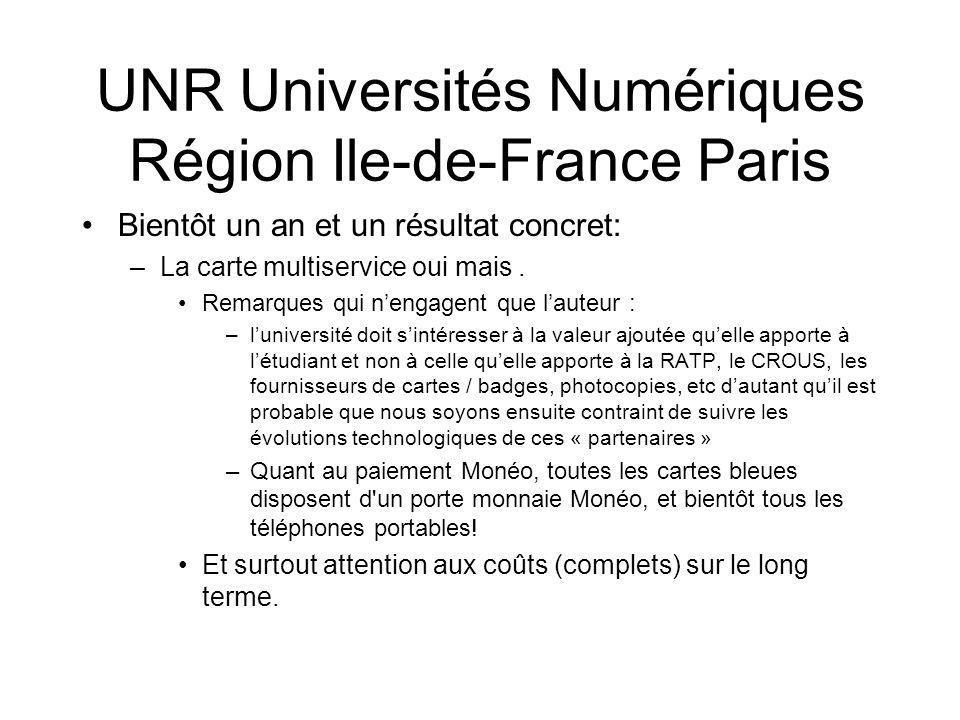 UNR Universités Numériques Région Ile-de-France Paris
