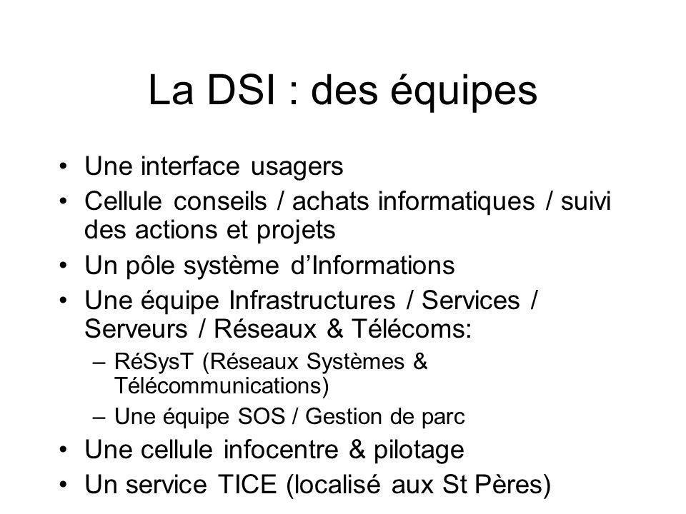 La DSI : des équipes Une interface usagers