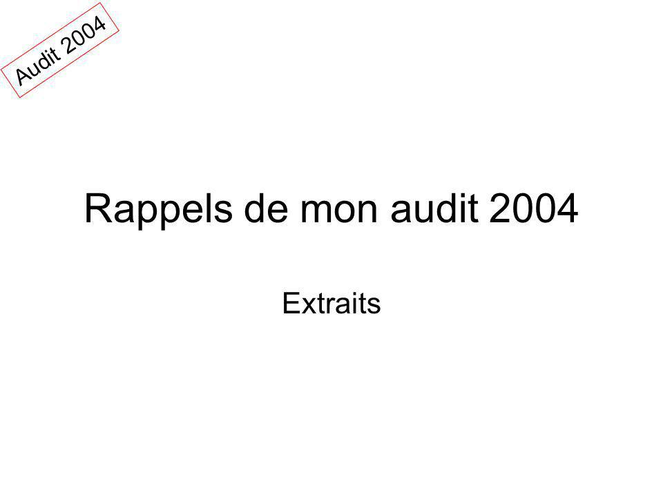 Audit 2004 Rappels de mon audit 2004 Extraits