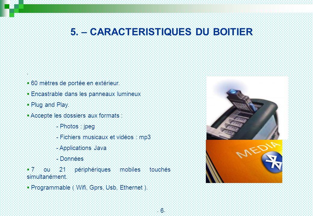 5. – CARACTERISTIQUES DU BOITIER