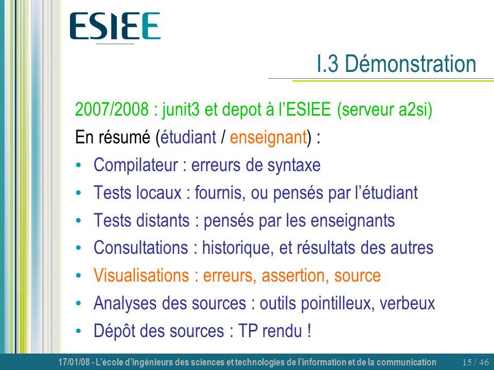 I.3 Démonstration 2007/2008 : junit3 et depot à l'ESIEE (serveur a2si)