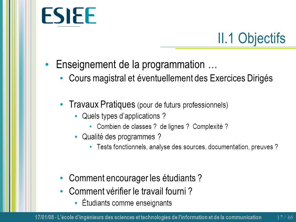 II.1 Objectifs Enseignement de la programmation …