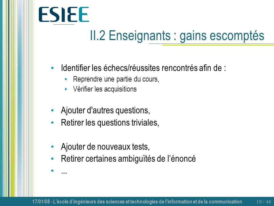 II.2 Enseignants : gains escomptés