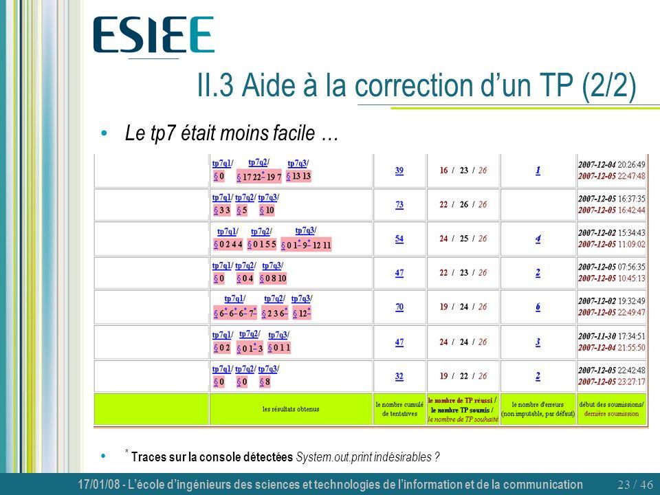 II.3 Aide à la correction d'un TP (2/2)
