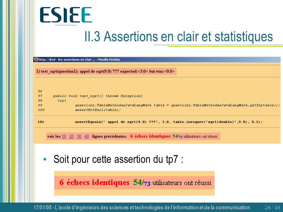 II.3 Assertions en clair et statistiques