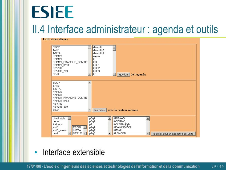 II.4 Interface administrateur : agenda et outils