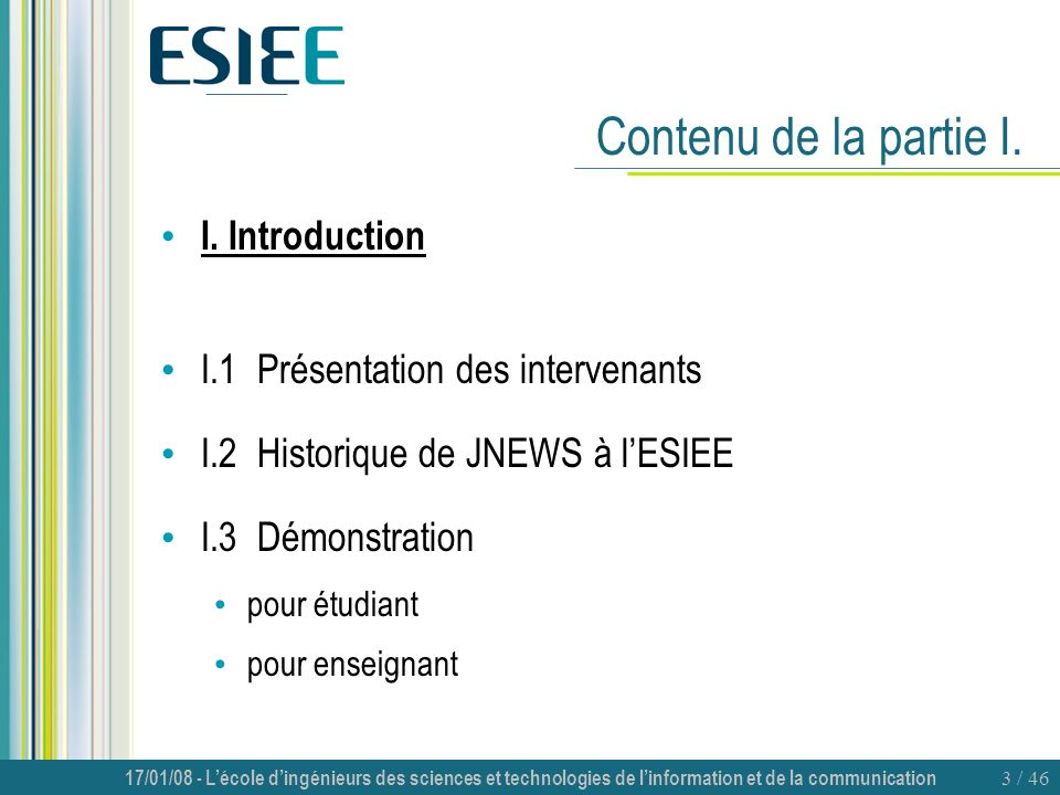 Contenu de la partie I. I. Introduction