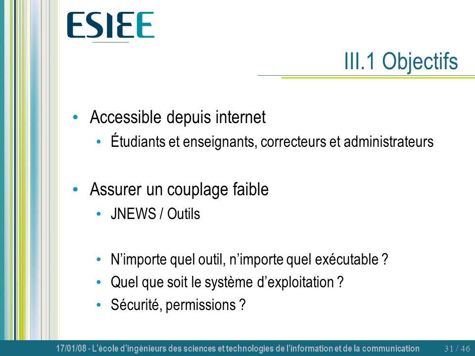 III.1 Objectifs Accessible depuis internet Assurer un couplage faible