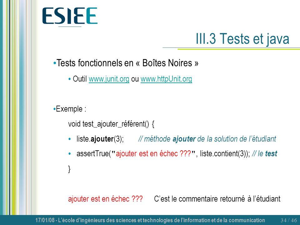 III.3 Tests et java Tests fonctionnels en « Boîtes Noires »