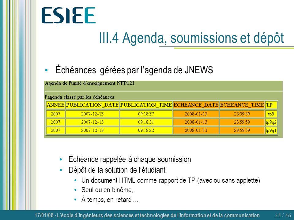 III.4 Agenda, soumissions et dépôt