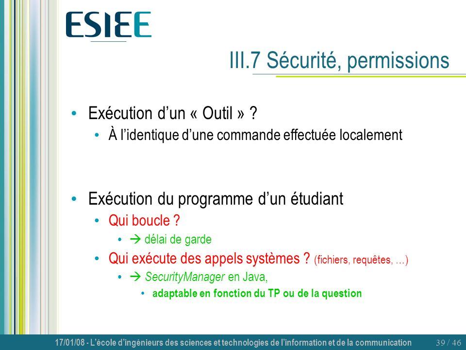 III.7 Sécurité, permissions