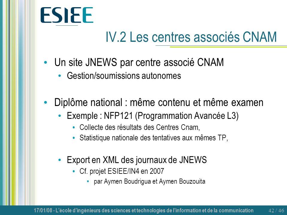 IV.2 Les centres associés CNAM