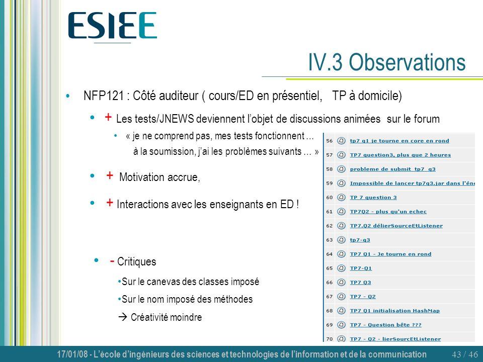 IV.3 Observations NFP121 : Côté auditeur ( cours/ED en présentiel, TP à domicile)