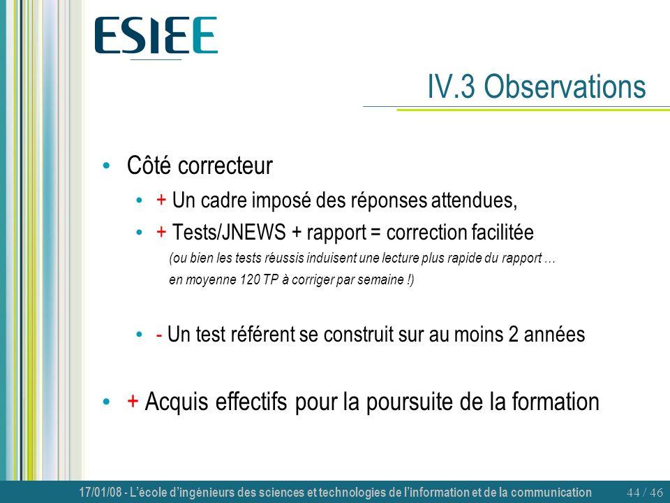 IV.3 Observations Côté correcteur
