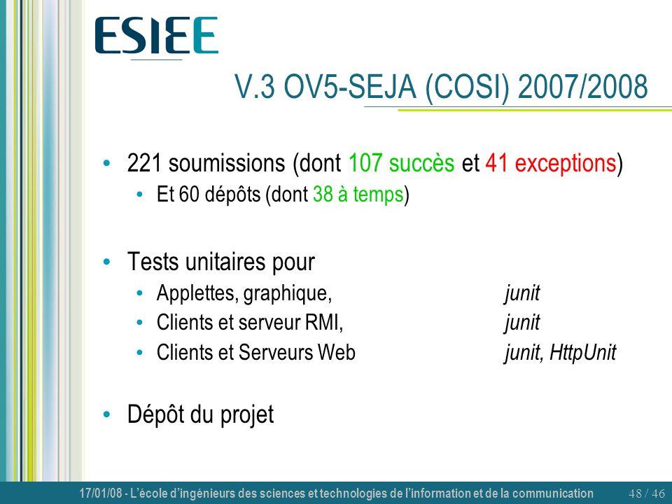 V.3 OV5-SEJA (COSI) 2007/2008 221 soumissions (dont 107 succès et 41 exceptions) Et 60 dépôts (dont 38 à temps)