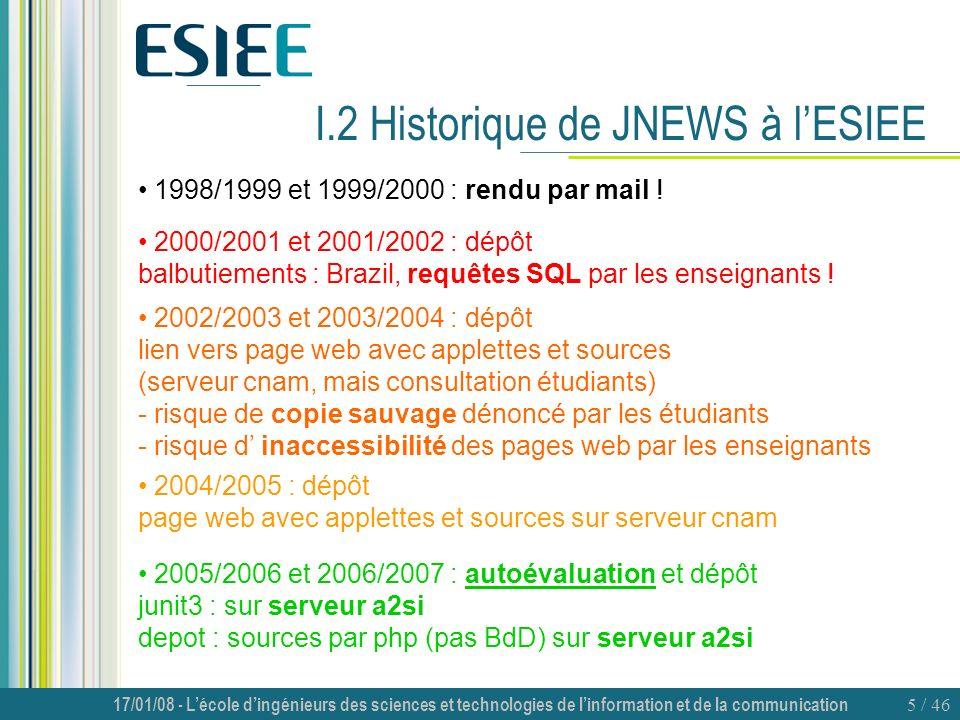 I.2 Historique de JNEWS à l'ESIEE